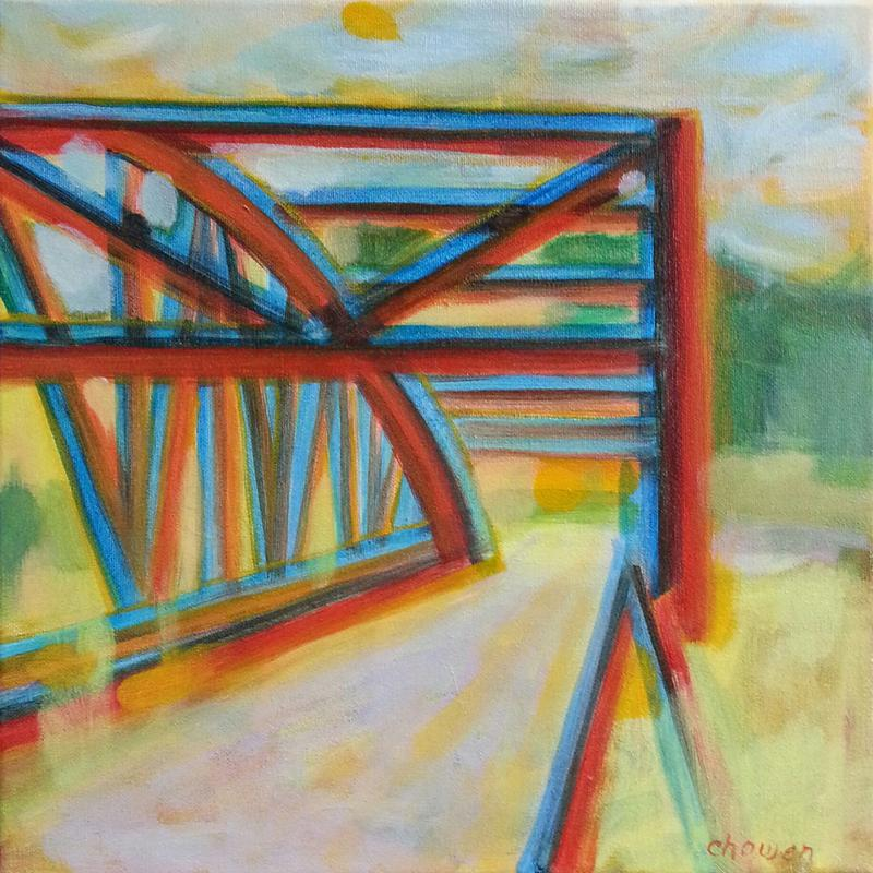 This is a painting of a steel bridge using colors found in a 2-dimensional image in an attempt to make it 3-dimensional.