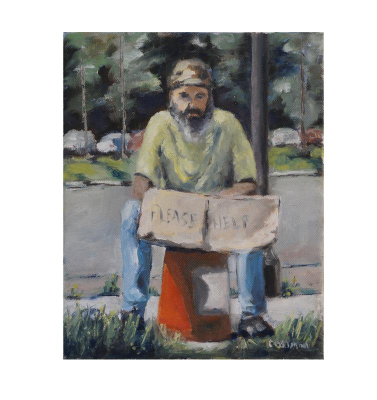 "Painting of a homeless man sitting on a red pail holding a sign saying ""please help"""