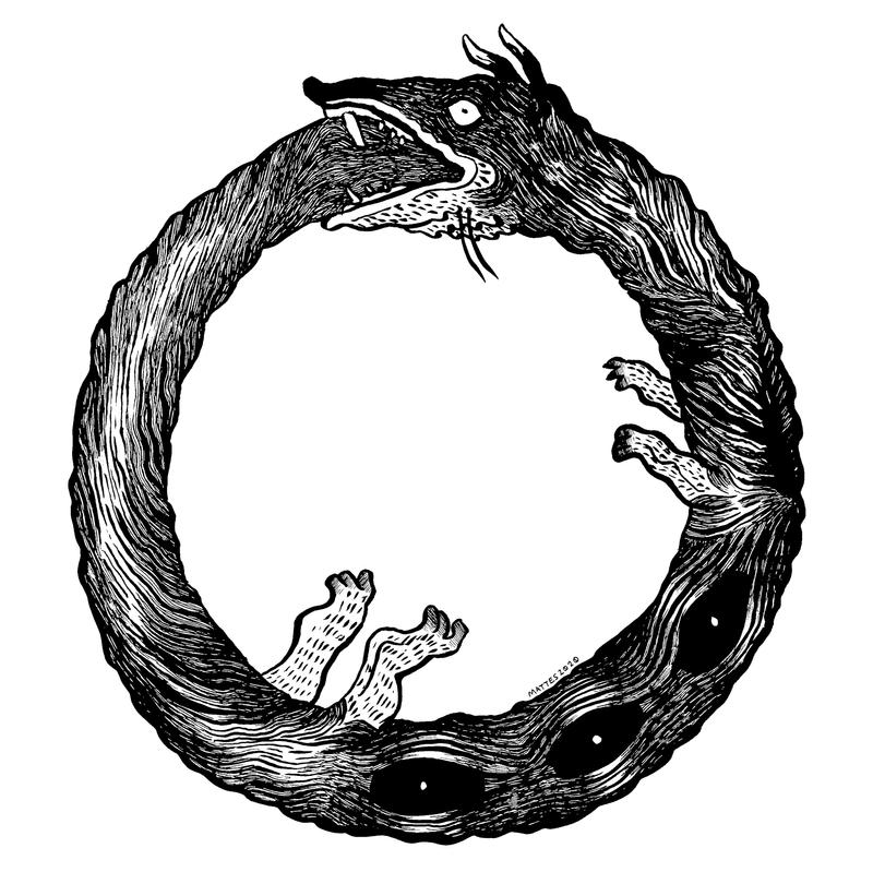 An ouroboros (snake-like creature with little legs) eats itself.