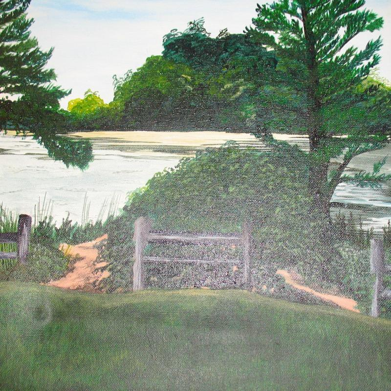 A painting of trees by a pond with a fence and a path made by footsteps that leads around the fence to the water.