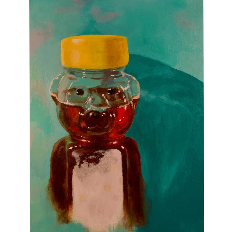 A painting of a bear-shaped bottle filled with honey, casting a shadow on a teal background.