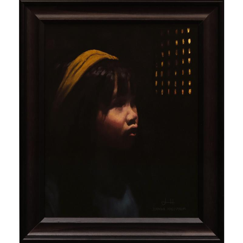 A painting of a young girl standing thoughtfully in a dark room. Her figure is mostly in shadow and she is looking toward the only light source in her space.
