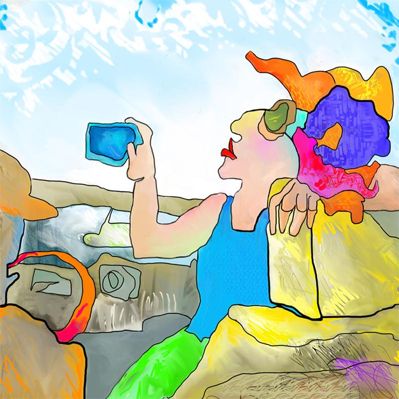 A digital painting of a woman propped against the car seat of a convertible, aiming her phone to take a selfie.