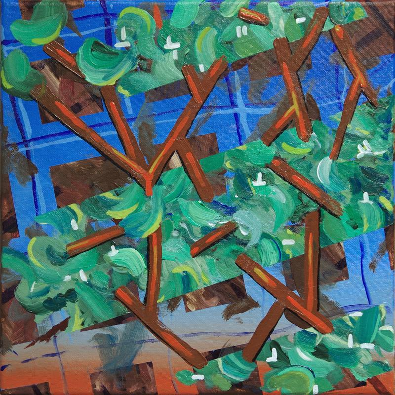 An abstracted landscape painting with blue grid background with swaths of green foliage-like bands linked by orange lines resembling branches.
