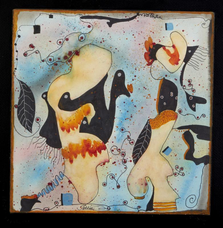 Abstract goose and other shapes colors blues, yellows, orange, pink and black