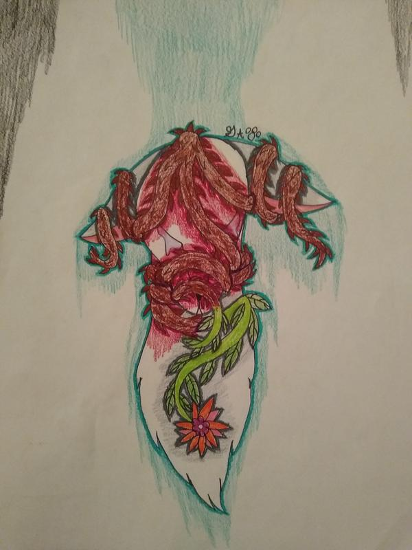 a white wolf covered in bloody thorny vines that change to clean leafy vines as it gets to the flower on the chest of the wolf the flower is orange and pink