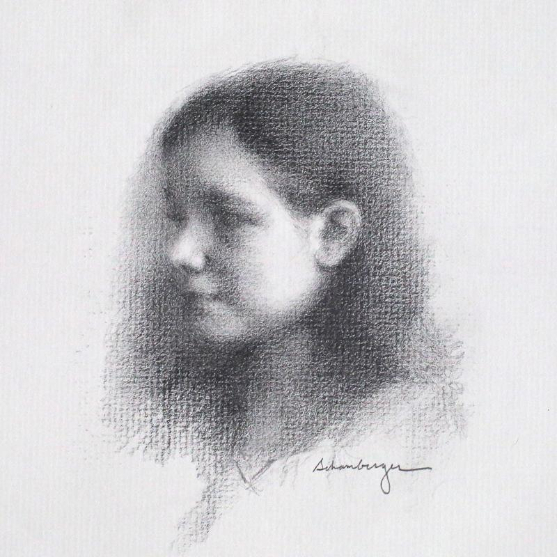 A graphite portrait drawing on textured paper of a young girl looking to the left, with illumination highlighting her round cheek and soft features in profile.