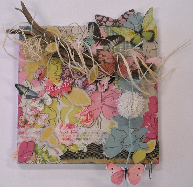 A colorful and whimsical multi media collage incorporating textures, natural materials such as driftwood and dried floral, fabric, wallpaper, vintage cards, and dimension, inspired by my lovely great aunt Thea.