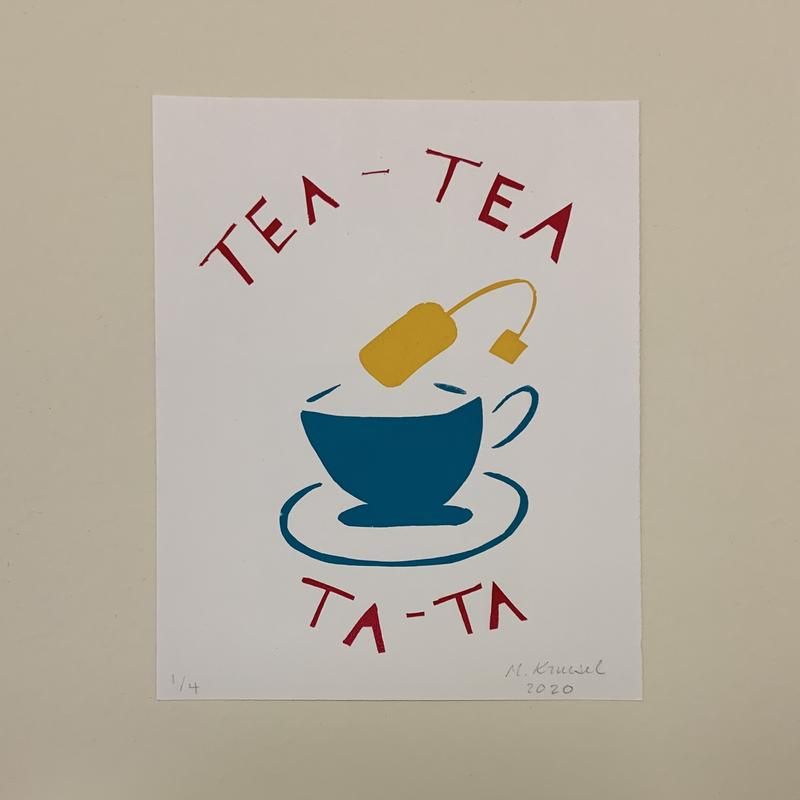 """A print of a yellow tea bag suspended above a blue tea cup surrounded by the words """"Tea-Tea"""" and """"Ta-Ta"""" above and below respectively."""
