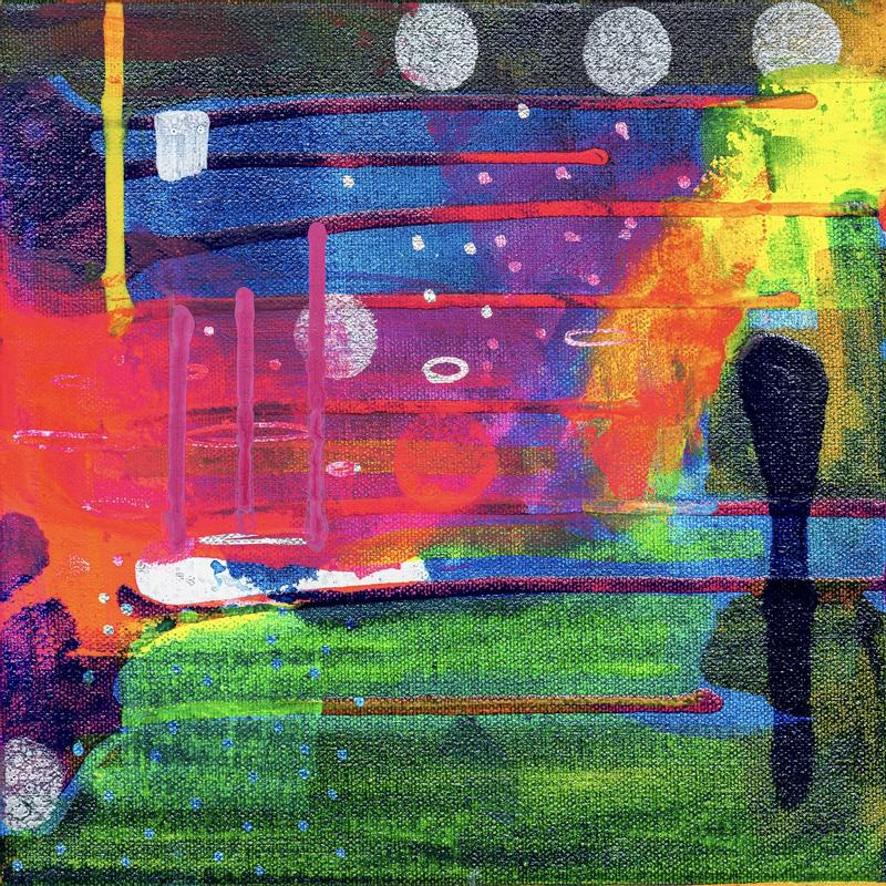 This painting is big on color, including organic forms in bright red, fuscia pink, lime green, dark navy blue, teal, forest green and sky blue. The organic forms are applied both horizontally and vertically in a complimentary, abstract way. Laying on top of these colors are six red, strong horizontal lines, one bright yellow vertical, and three striking fuscia vertical lines. Though this is an abstract painting, you can also imagine it as a landscape. The title is 'Three Moons,' which is taken from from the three medium-sized white circles in the center of the painting. There is also a white circle in the center along with two small open circles and many light blue circles on the lower, left hand corner.