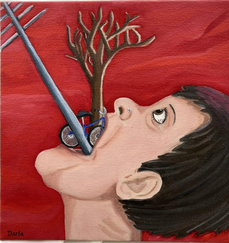 A self portrait with a frustrated/angry red background of me choking on a power pole, destroyed tree, and bike for a proposed bike trail.