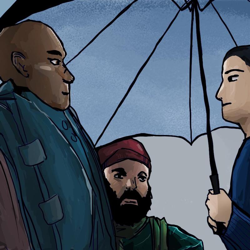 3 people under an umbrella in the rain, with a grayish blue sky.