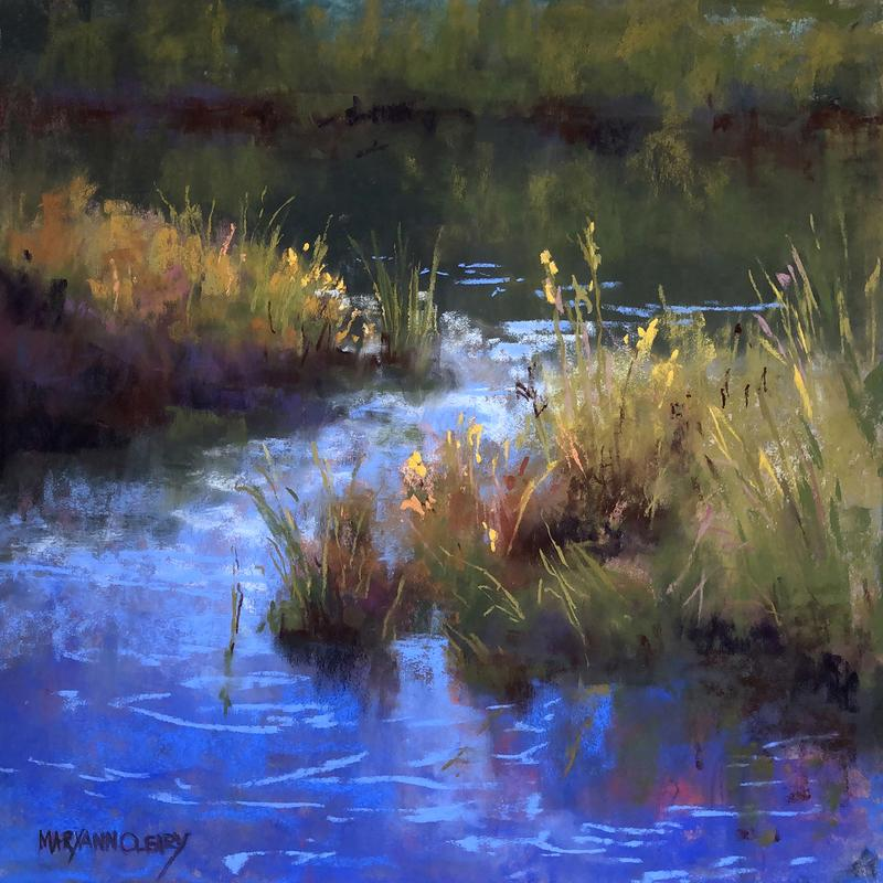 A painting of grasses along a small creek called Mud Creek in the Gunflint Trail. The colors are a vibrant blue water with the grasses green, yellow, orange-red, blue-green. The water is shaped as an s-shape. Painted from live or Plein air.