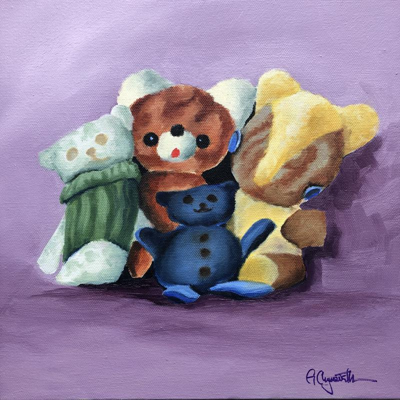 A painting of four teddy bears, two of them handmade, that were my childhood best friends, on a lilac-colored background