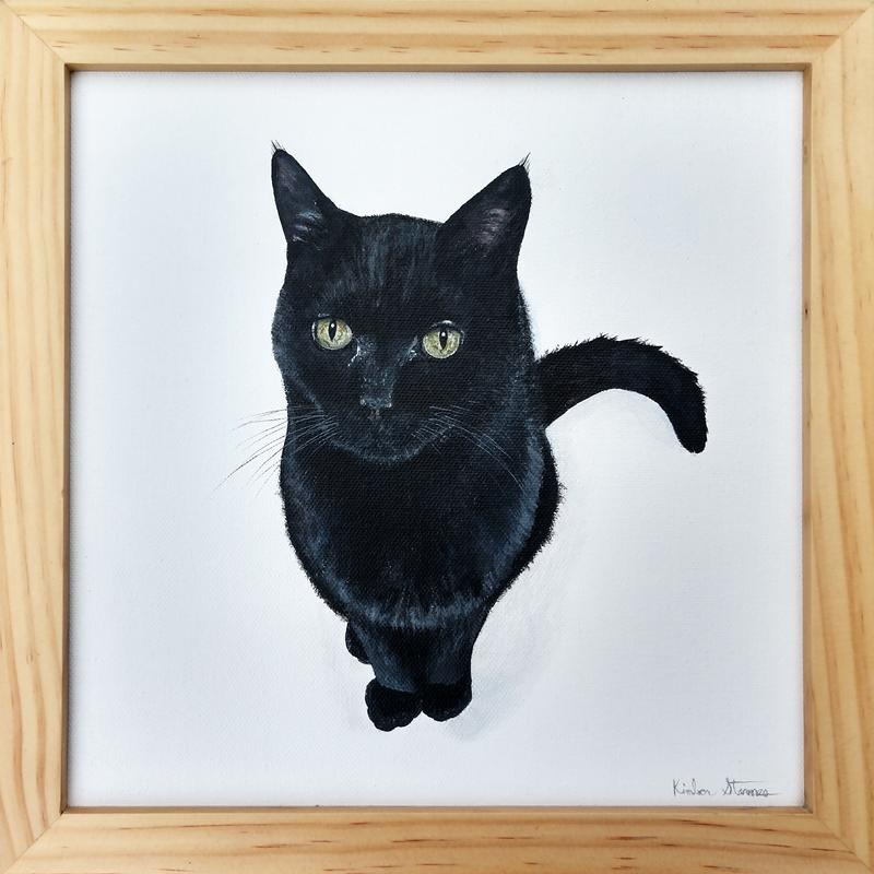 A painting of a slender black cat with green eyes sitting in a bright white space looking pensively at the viewer.