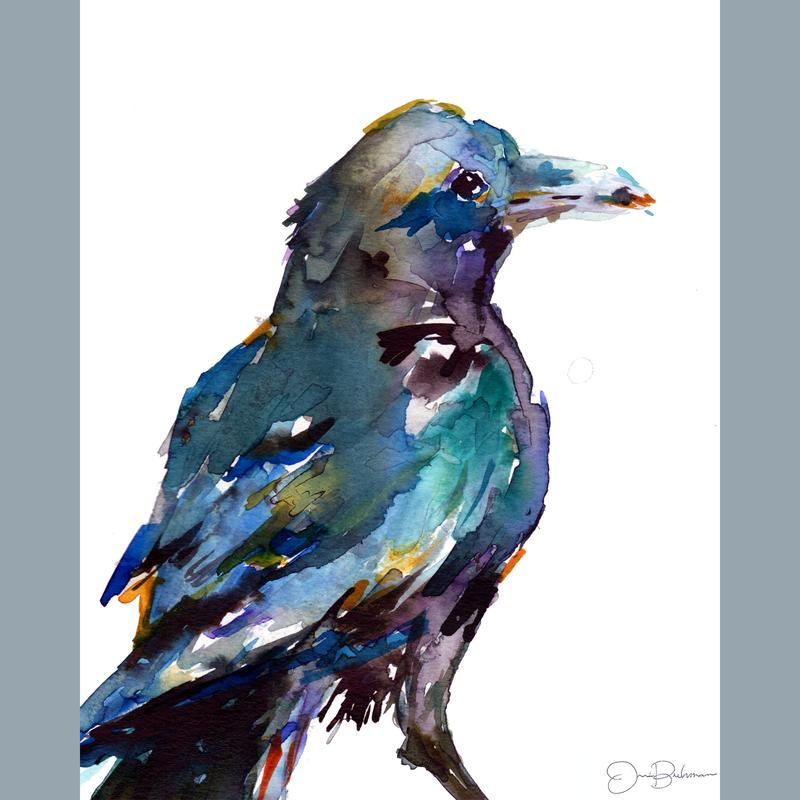 A paint of a raven looking to the right in blues, greens, and blacks with yellow accents in an abstract style.