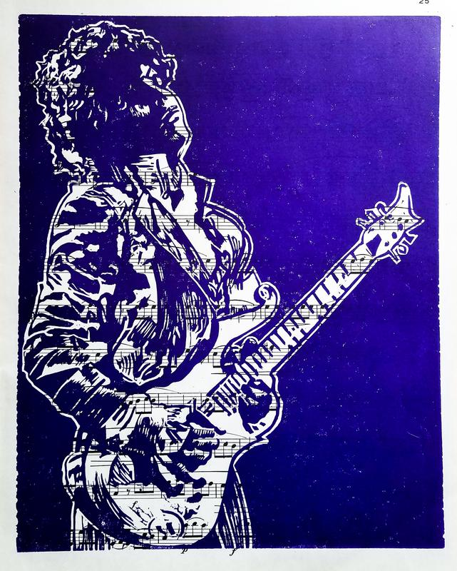 A negative space linoleum cut of Prince playing his guitar with a purple background, printed on sheet music.