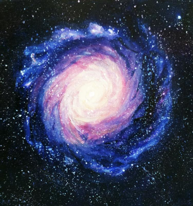 An acrylic painting of a spiral planetary nebula spinning from a white hot center to coral, magenta, purple and blue gossamer layers into a deep blue-black, outer-space sky filled with distant stars.