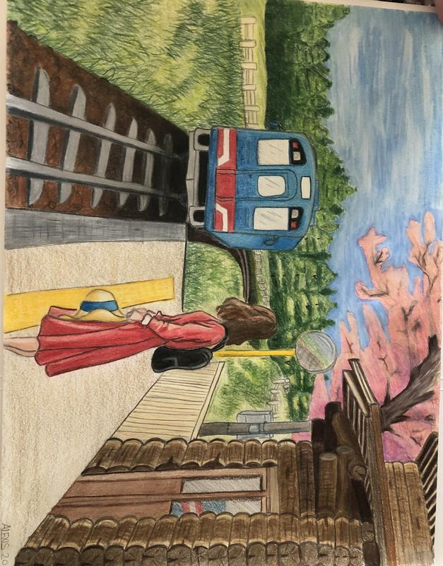 A color pencil drawing of a girl in a red dress at a train station, pondering over the rural landscape as she notices her train finally arriving.