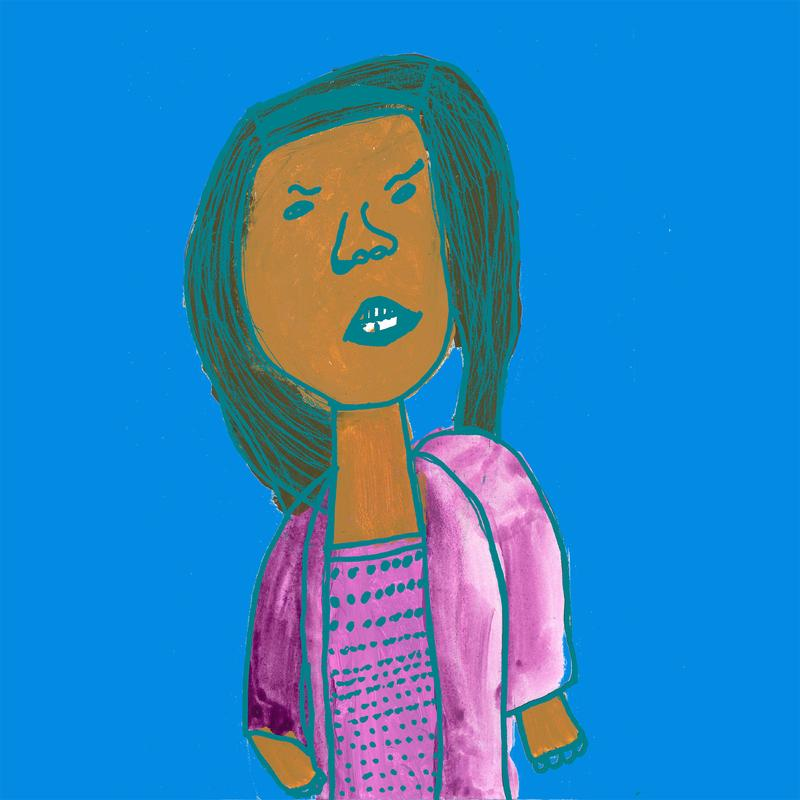 This image features a drawn portrait of Queen Latifah from the waist up, on a flat blue background. Queen latifah wears a purple cardigan and a purple polka dotted shirt. She looks directly at the viewer with a puzzled expression.