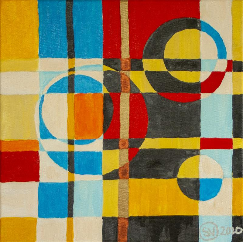 The second of a series. A non-objective piece, this grid-based composition is broken up with circles. It has a careful alternation of primary, pastel, secondary and metallic colors to create a feeling of warm energy.