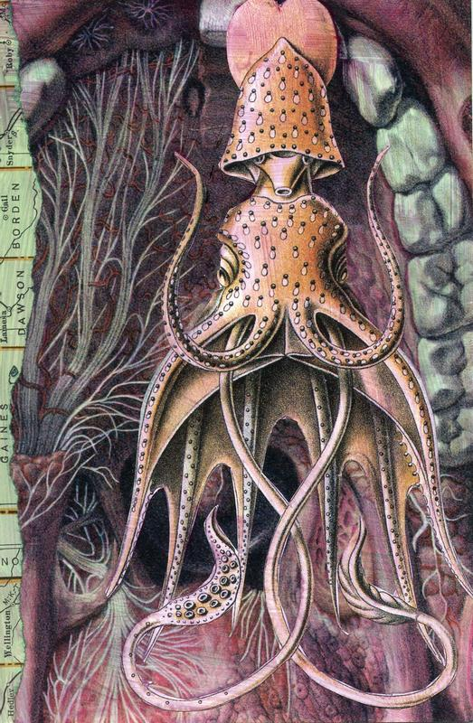 A collage of a squid living inside of someone's mouth. Teeth are on the right side, forming a cave entrance while a scrap of map on the left creates a partial frame of the scene.