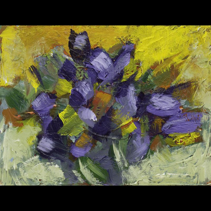 Abstract Painting that evokes spring flowers. Purple and red energetic brush strokes on a background of bright yellow and orange.