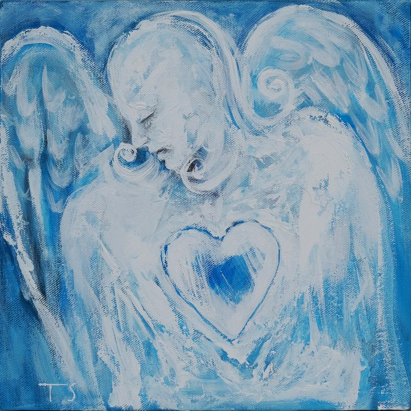 A figurative abstract white angel with a blue heart against a blue background.