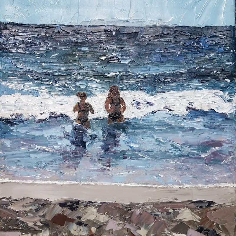 a painting of the ocean and sandy beach. Two figures in the middle of the painting near a small wave. painted with a pallet knife.