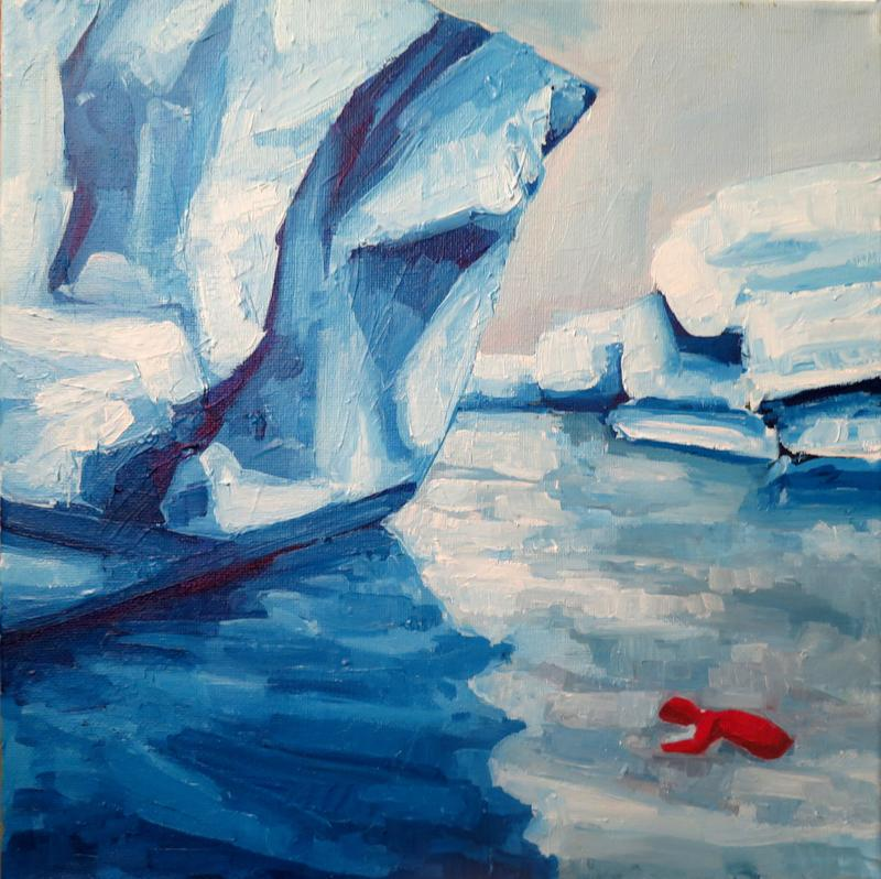 A square oil painting showing a small red coat floating in artic waters next to an iceberg.