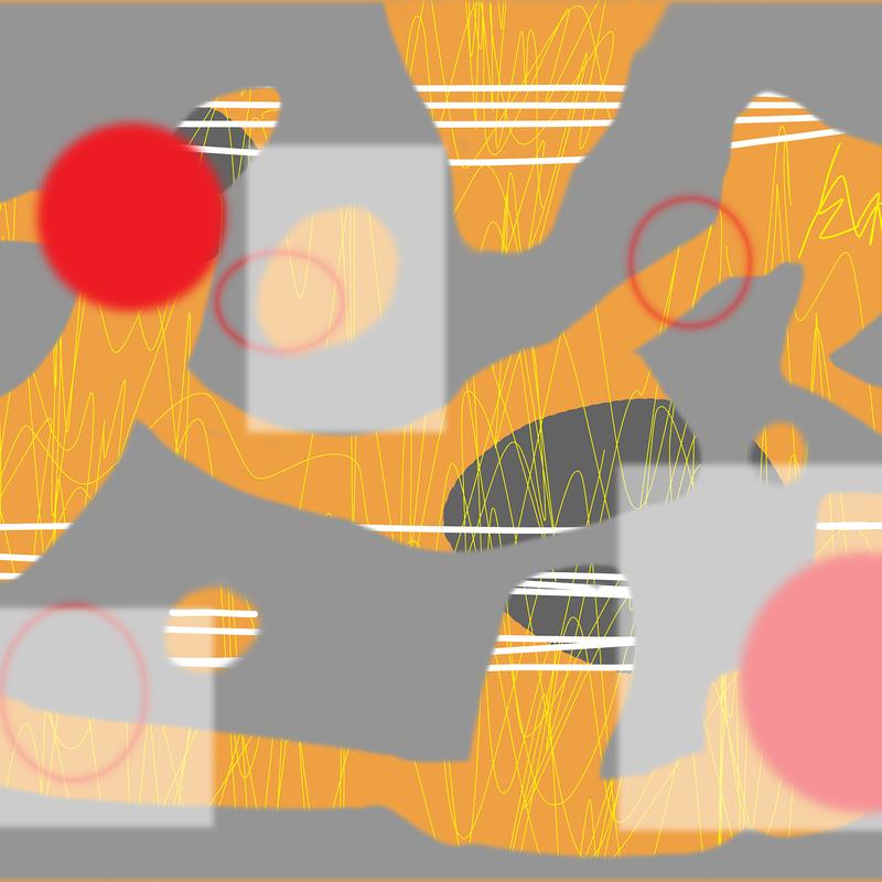 Two primitive figures, one pushing, one pulling in a primitive matrix with red planets.