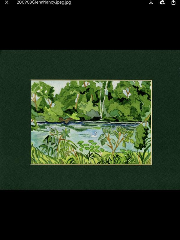 This is a painting of the woods being reflected in the lake.