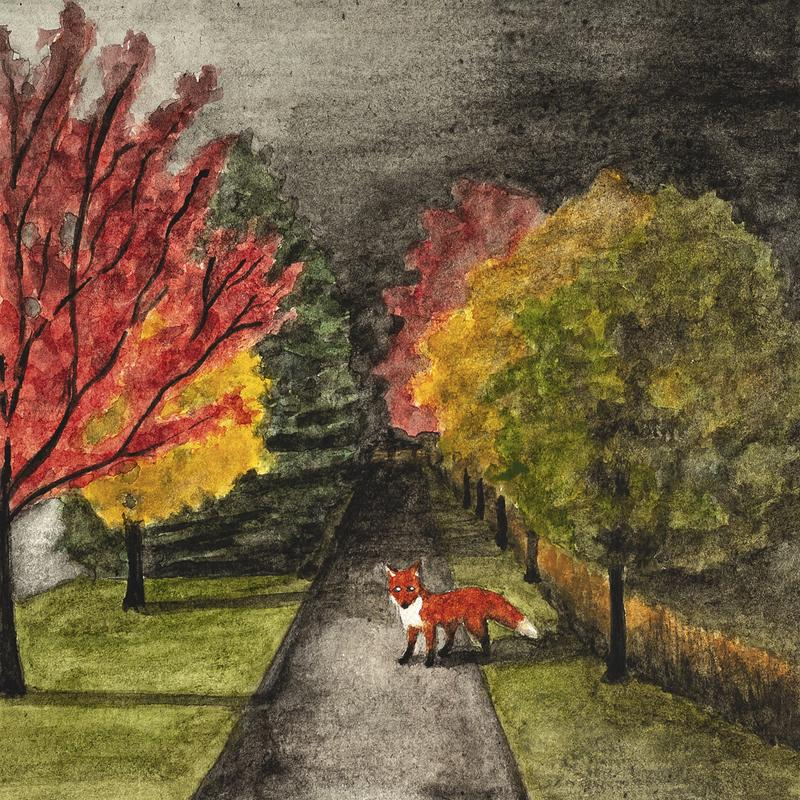 A painting of a red fox standing on a dark path lined with trees of red, yellow, and green.