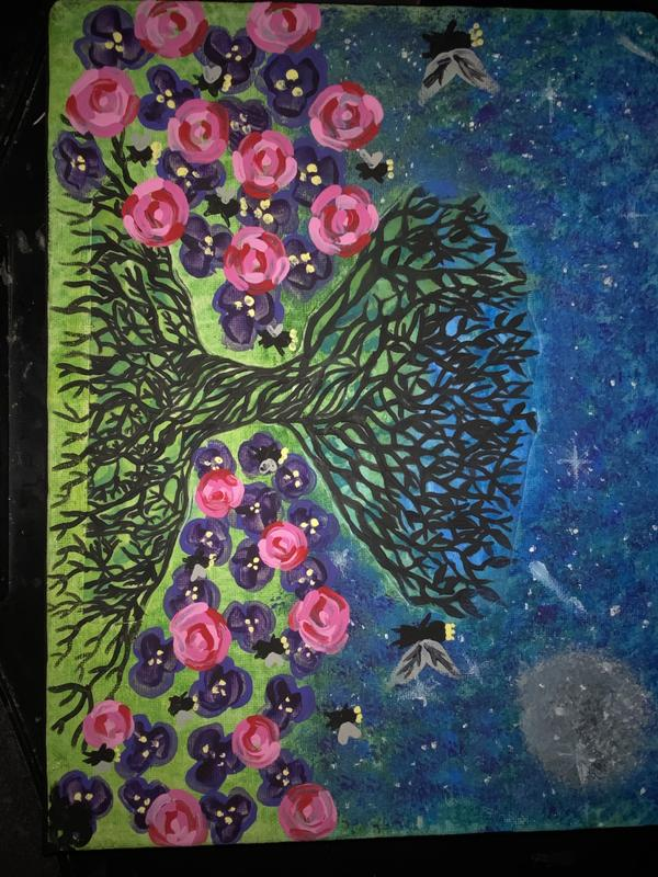 A painting of a stary night sky with a full moon and a large tree focal point with different shades of green grass with violets and roses blooming with small black fairies flying through the night