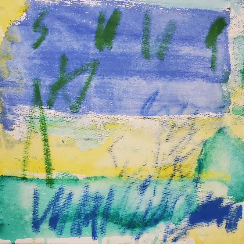 Abstracted symbolic tree in green outline and symbolic landscape elements in blue and green in the foreground hovering above a blue, yellow and green field/background.