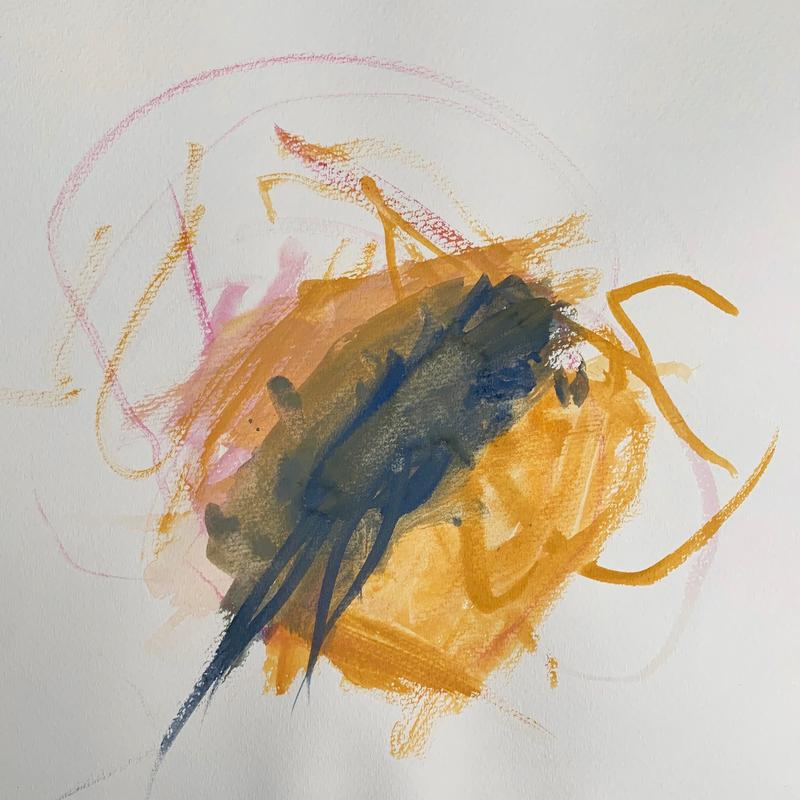 An abstract watercolor painting of a dark yellow circle with deep blue strokes across the center and active swirls of pink and dark yellow jutting out from the circle.