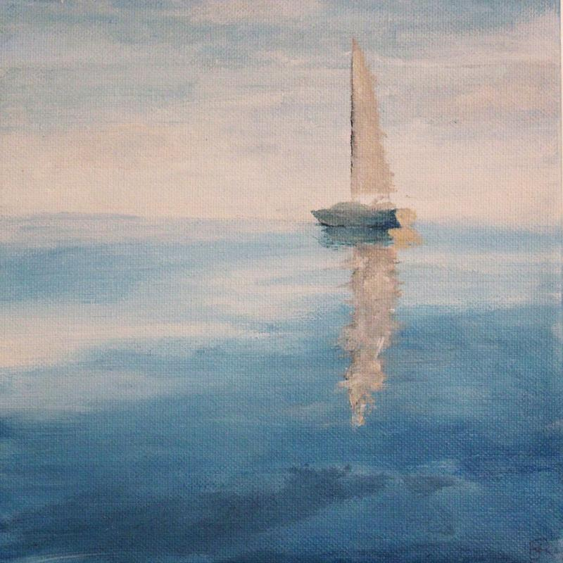An abstract painting of a calm evening sailing Lake Superior. The sky and water merge with no clear line for the horizon. Soft ripples ne the lake reflect the sail of the boat.