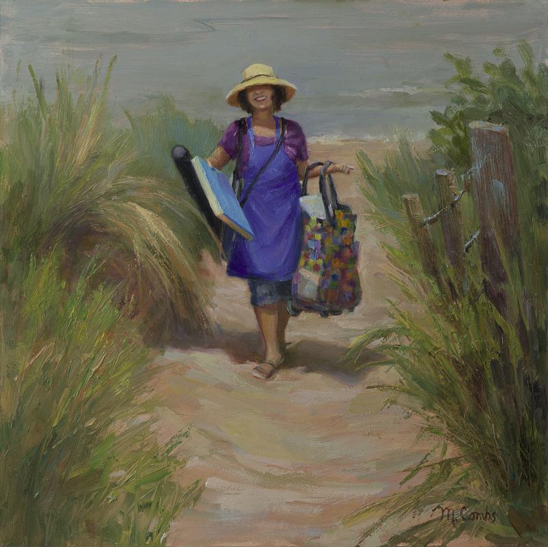 This is a self portrait. I'm carrying all my paint supplies on a beautiful summer day by the beach where I just finished painting!