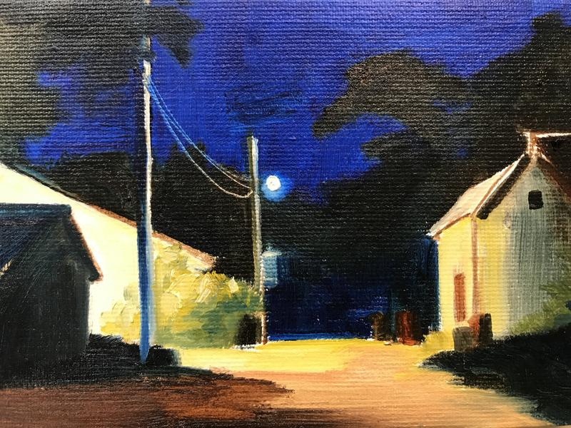 A painting of an ordinary alley at night, lit by a solitary garage light