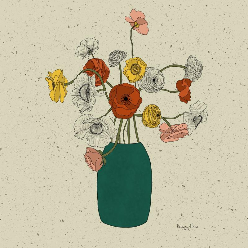 A digital painting of a vase of flowers in a retro color palette. Some flowers are shaded as black and white, and some are colored in with flat color. The background is cream and textured.