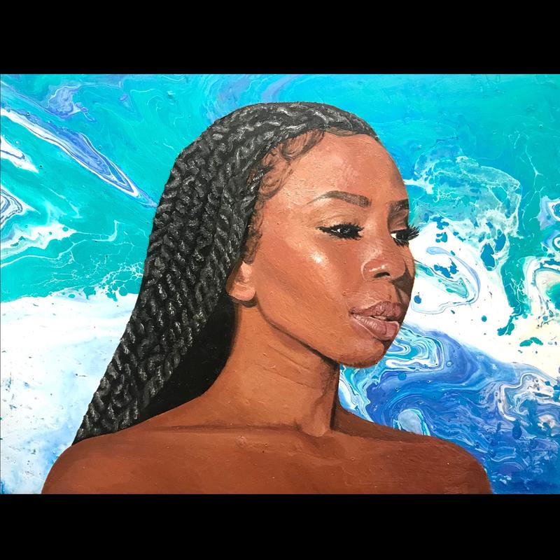 A realistic portrait of a black woman with long dark hair, she is looking to her left with a neutral facial expression. The background contains an array of blue, teal, and white colors marbled together.
