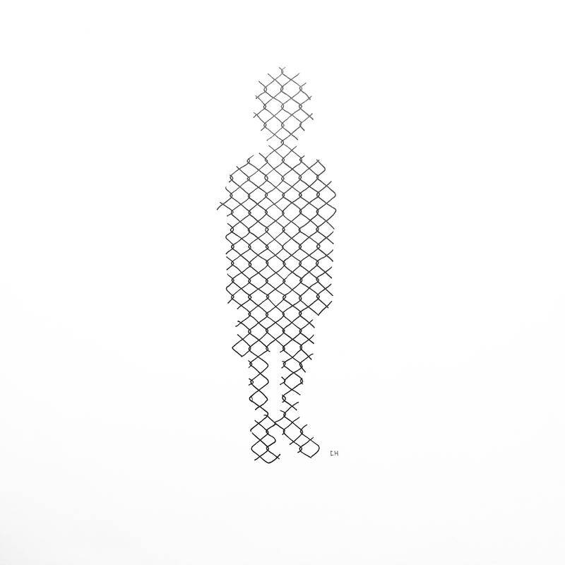 Child's silhouette composed with black outlines of a cage fence