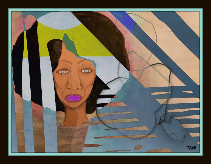 Painting of the face of an anguished, older immigrant woman within geometric shapes and lines in a muddy brown river with a light pink atmosphere representing the death of her son in the river during his immigration attempt.