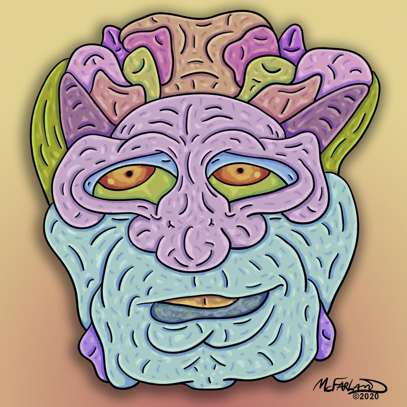 Colorful surreal cartoon style character face.