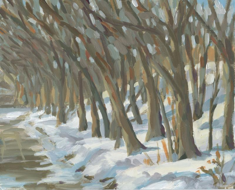An impressionistic painting of a tangle of bare trees along a snow covered hill alongside Pleasant Ave in St Paul, Minnesota.