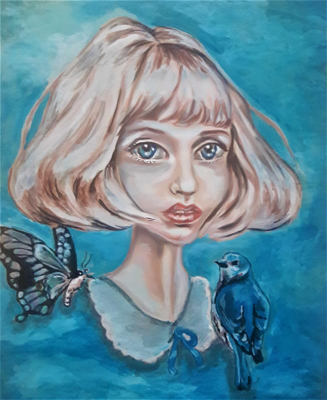 Painting of a girl with butterfly and bird in shades of blue.