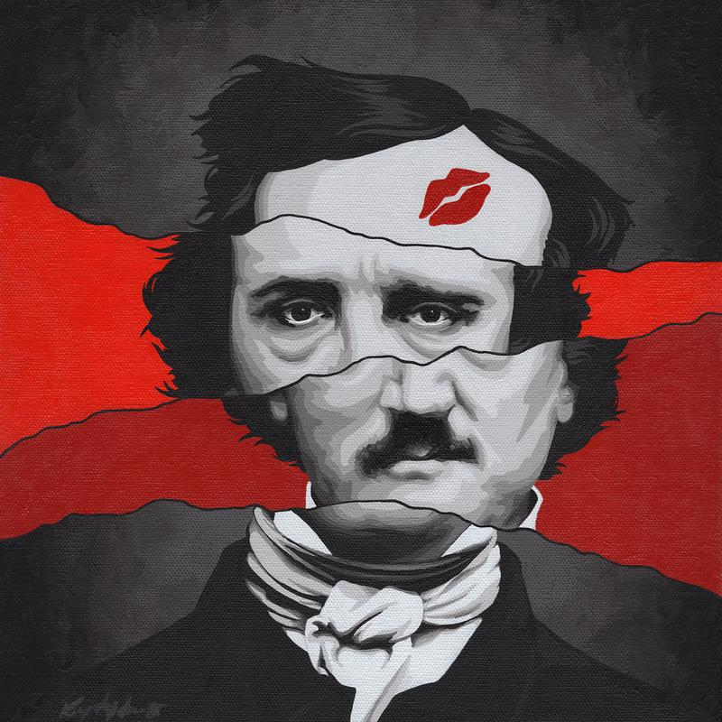 A greyscale portrait of Edgar Allan Poe in offset horizontal sections set apart by two background shades of bold red