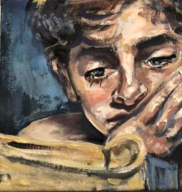 "Inspired by a scene from the book to film Call Me By Your Name, ""I Remember Everything"" is a painting of a young man engrossed in a novel, dreaming of other places and times."
