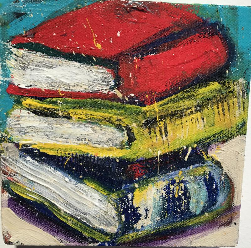 This from a series of small paintings of boxes, an object believed for its colors, shape and giver of pleasure.
