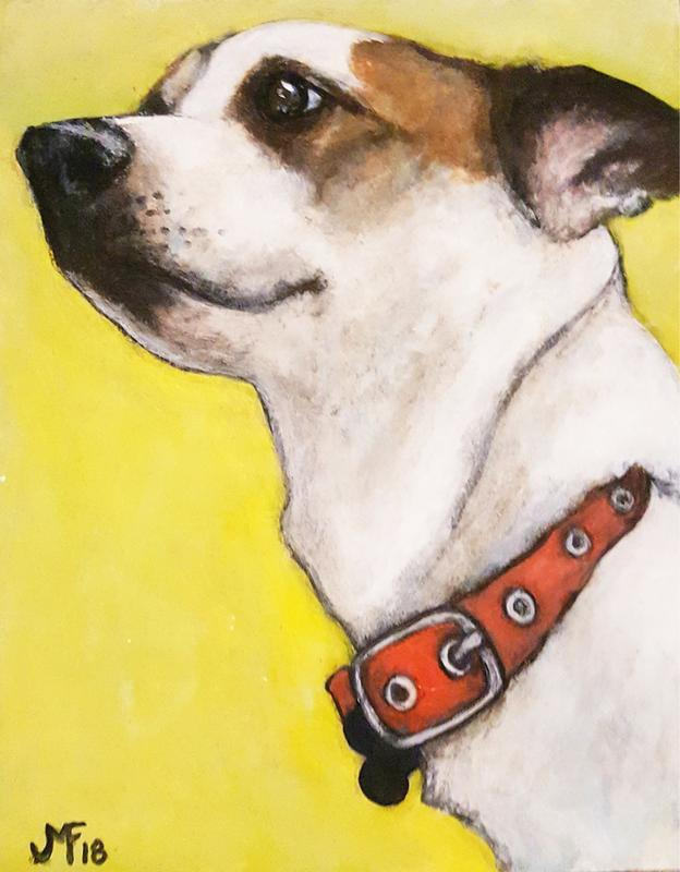 An acrylic painting of my Jack Russel dog Charlie. He is a white dog with brown spots around his eyes wearing a red collar. Background of the painting is yellow.